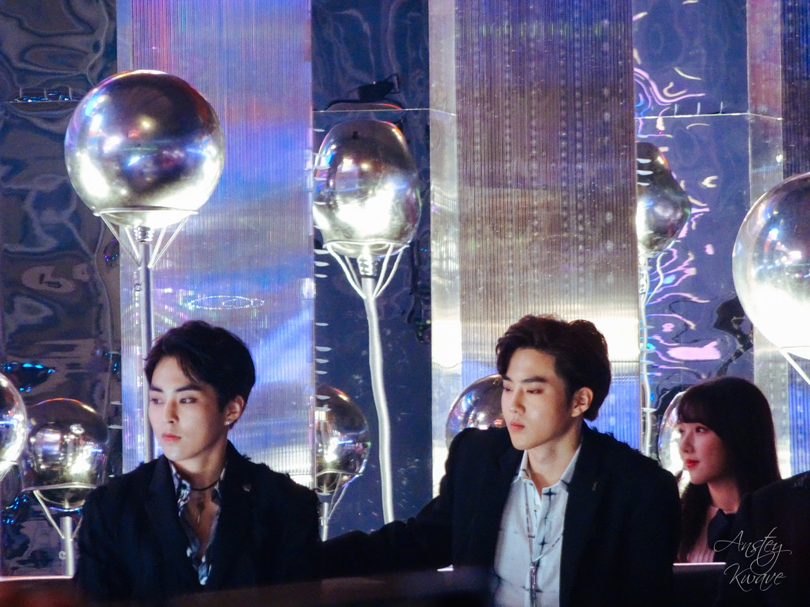 Xiumin and Suho, members of famous Korean k-pop boy band at Melon Music Awards (MMA) 2017 in Seoul, South Korea