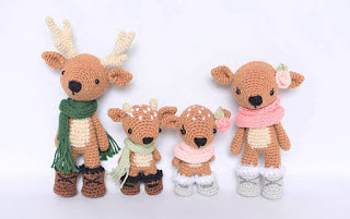 crochet amigurumi family of reindeer