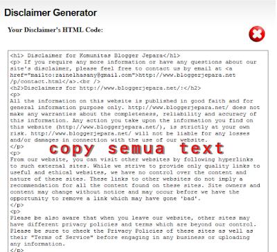 cara membuat laman disclaimer di blog