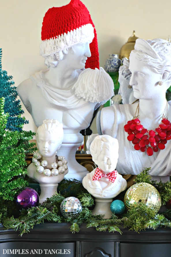 man bust, woman bust, children busts, christmas entry, christmas vignette