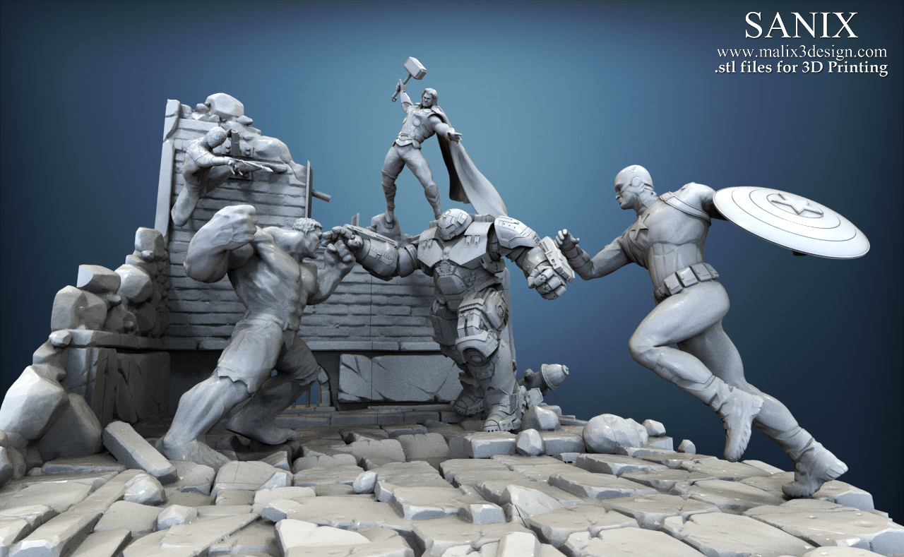 Full superheroes scene - Diorama for 3D printing  Five heroes !!!