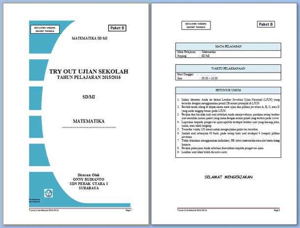 Soal Try Out Ujian Sekolah SD MI Matematika Download Format Microsoft Word
