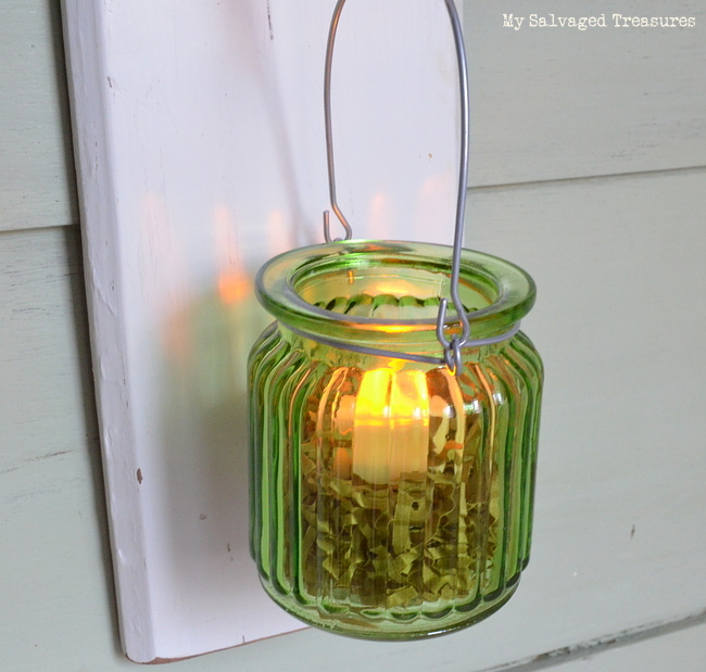 green glass jar tea light holder