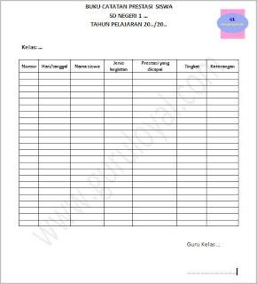 contoh format buku catatan prestasi siswa sd