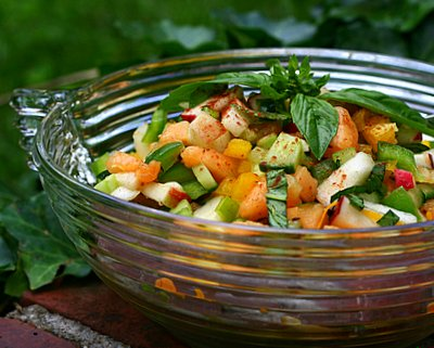 Mixed Fruit & Vegetable Salad, another healthy salad ♥ AVeggieVenture.com, an unusual and refreshing salad, a bright mix of chopped fruits and vegetables tossed with no more than salt and pepper and a little cinnamon.