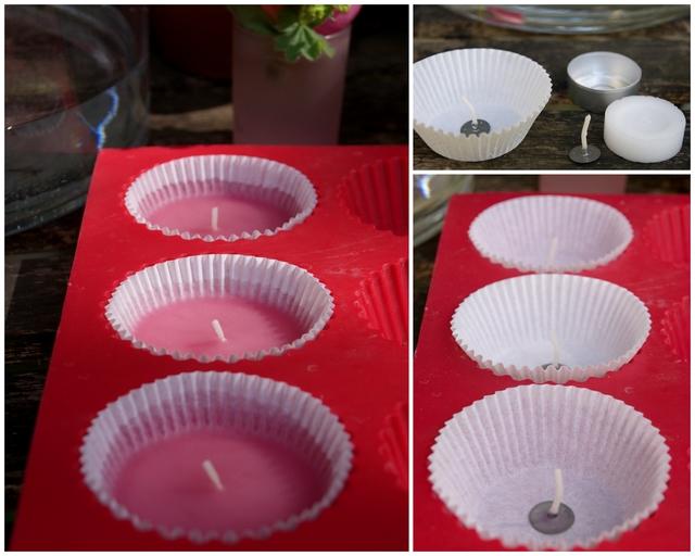 DIY Schwimmkerzen selbst gießen in Muffinförmchen mit Teelichtdocht