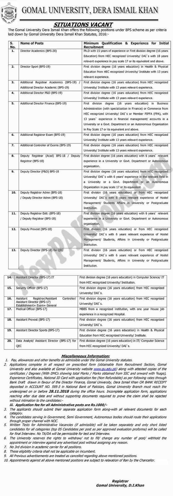 Multiple Jobs announced in GOMAL University DI Khan  | Advertisement 1