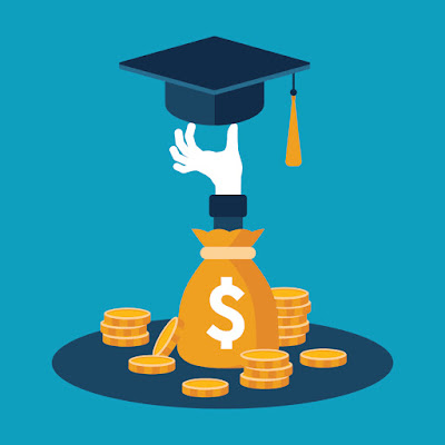 Illustrated image of a hand popping out of a money bag and holding a graduation cap