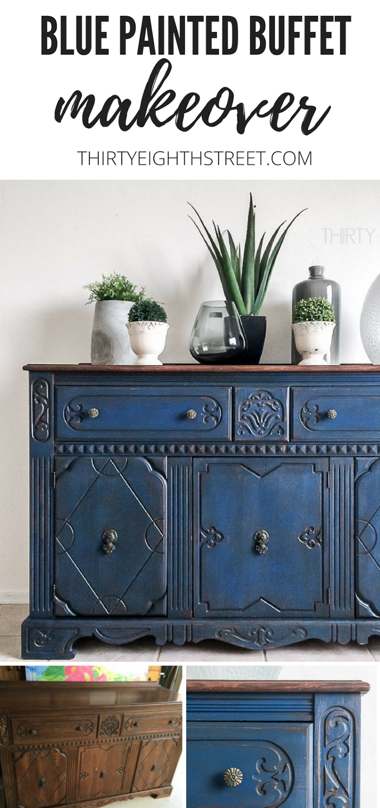 blue painted buffet makeover thirty eighth street. Black Bedroom Furniture Sets. Home Design Ideas