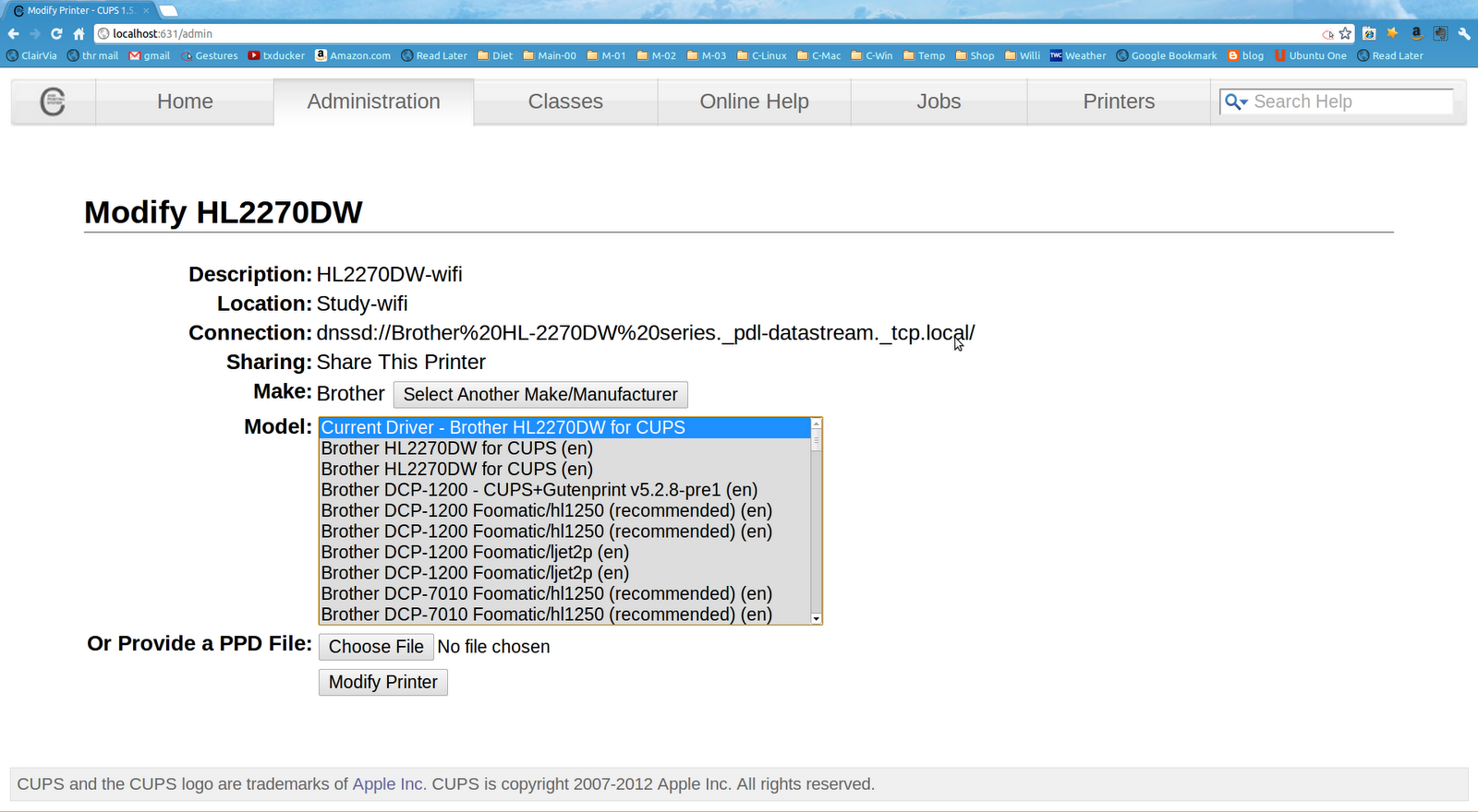 Chad E Chenault: Brother HL-2270DW printer driver install: Ubuntu