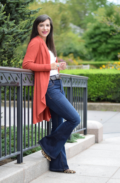 Flare Jeans and cozy cardigan, perfect for fall