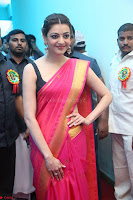 Kajal Aggarwal in Red Saree Sleeveless Black Blouse Choli at Santosham awards 2017 curtain raiser press meet 02.08.2017 004.JPG