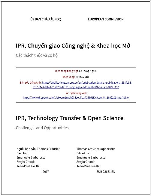 'IPR, chuyển giao công nghệ và Khoa học Mở - Các thách thức và cơ hội' - bản dịch sang tiếng Việt