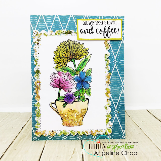 ScrappyScrappy: Unity Stamp & Graciellie Design Blog Hop - Coffee and Flowers #scrappyscrappy #unitystampco #gracielliedesign #card #cardmaking #youtube #quicktipvideo #video j#janedavenport #watercolors #glitterificpaint #glitterpaint #ginamariedesigns #coffeeflowers
