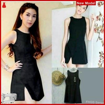 FHGS9089 Model Dress Aura Black, Dress Pakaian Perempuan Scuba BMG