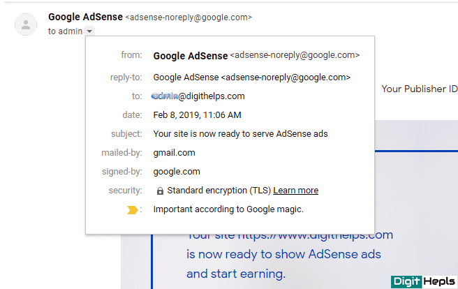 AdSense Approval mail