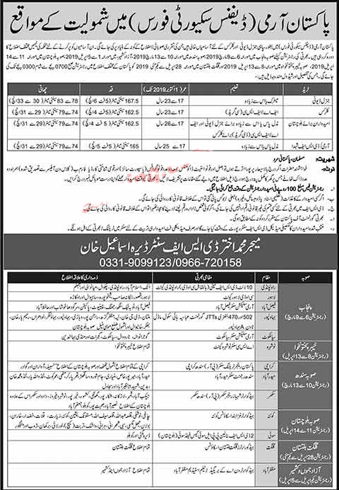 Jobs In  Pakistan  Army Defence Security Force Jobs 2019 Application Form Apply in pakistan army defence security force