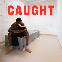 Caught logo, teenager reading a book in his cell