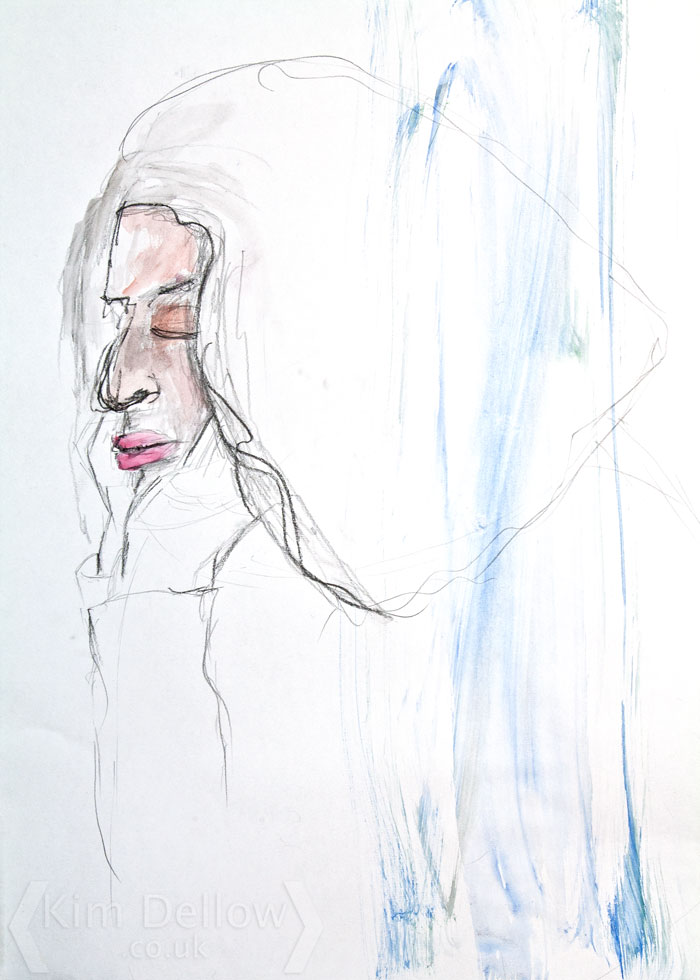 A mixed media portrait sketch  by Kim Dellow