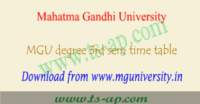 MGU degree 3rd sem time table 2018-2019 2nd year