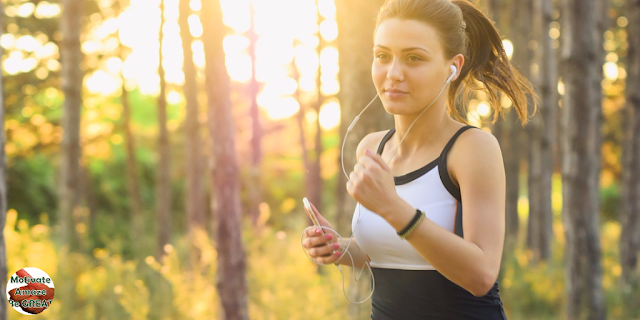 "Featured in the article: ""7 ""Starts & Stops"" Everyone Should Do In Their 20s"".  Start to exercise and walk more often. Girl running wearing headphones."