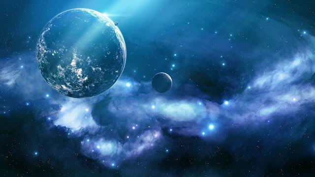 Blauwe ruimte achtergrond met planeten