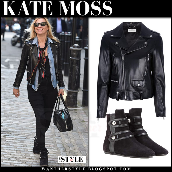 Kate Moss in black leather saint laurent biker jacket, black skinny jeans and black suede isabel marant roddy ankle boots what she wore streetstyle