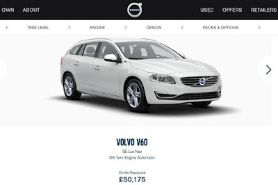 Volvo V60 SE Lux Nav D6 Twin Engine Plug-in Hybrid (2016) Front Side