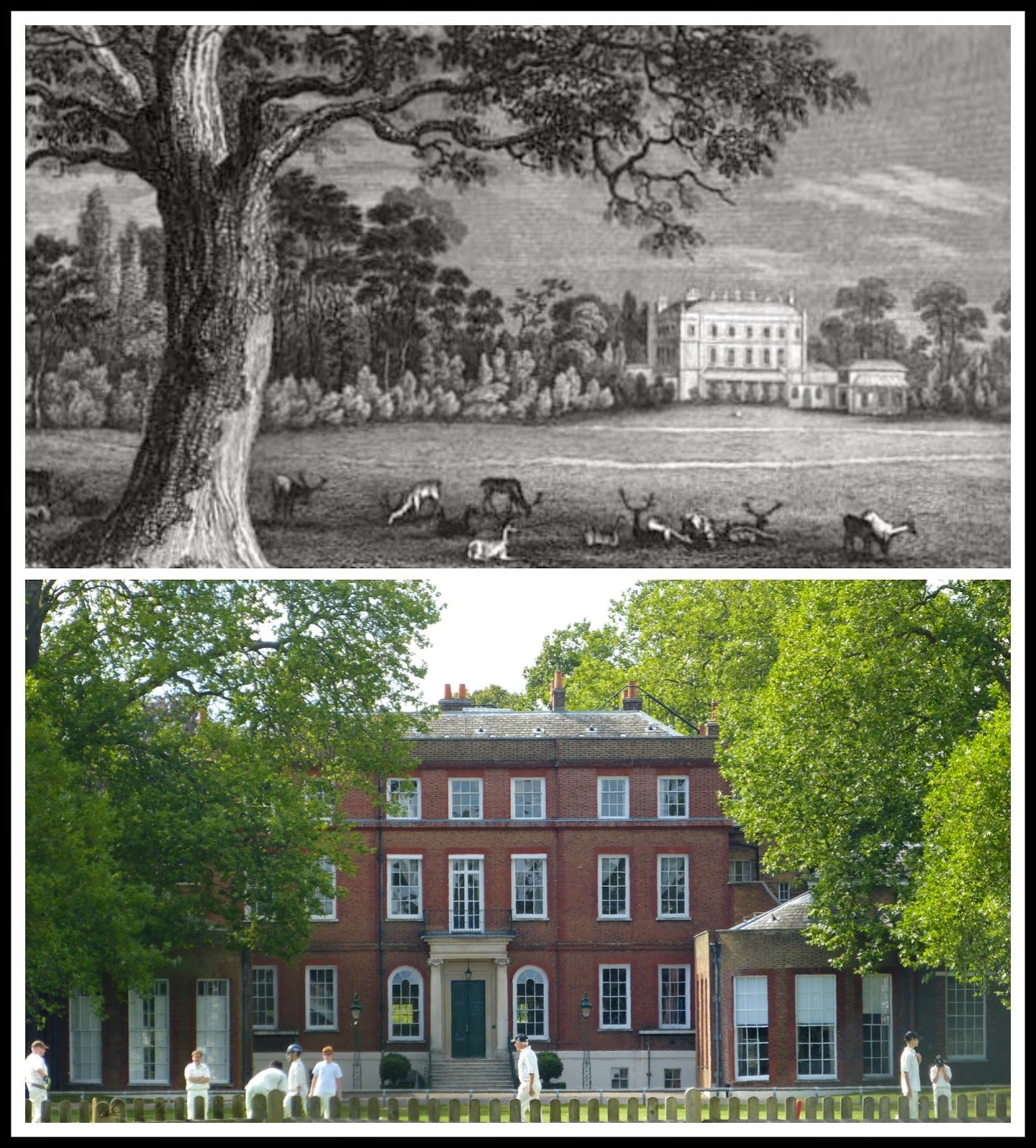 Top: Bushy House from History of the life and reign   of William the Fourth (1837) by R Huish   Bottom: The house in Bushy Park today © Andrew Knowles