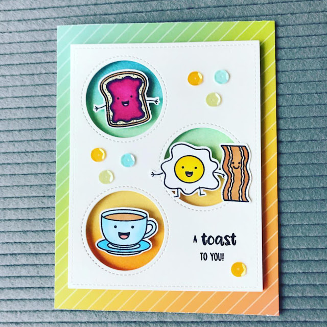 Sunny Studio Stamps: Breakfast Puns Customer Card by Joy