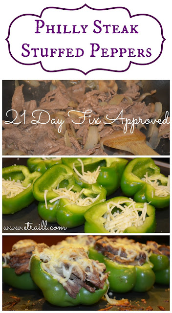 Erin Traill, diamond beachbody coach, 21 day fix, recipe, clean eating, Autumn Calabrese, philly steak stuffed peppers, low carb, weight watchers, fit mom