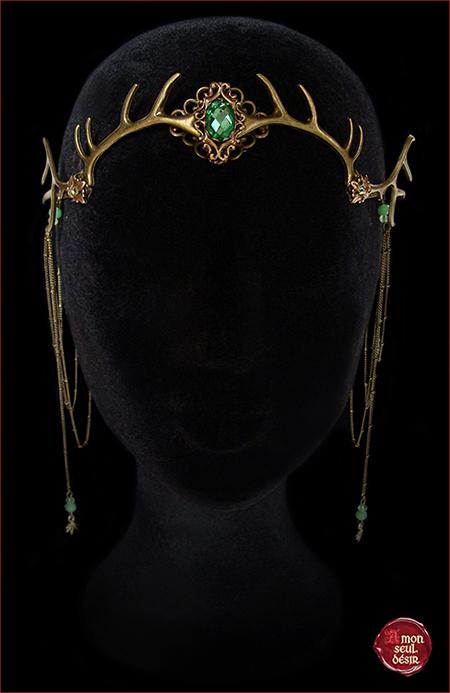diademe bois de cerf elfe forest tiare elfique mariage pagan wiccan antlers diadem tiara deer bronze elven mythical wicca wedding