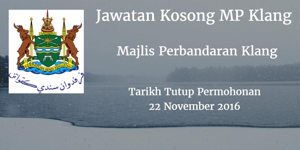 Jawatan Kosong MP Klang 22 November 2016