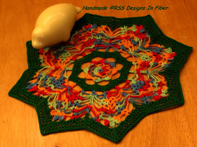 Star Shaped Doily - Festive Bright Red, Yellow, Blue, Green - Handmade By Ruth Sandra Sperling at RSS Designs In Fiber