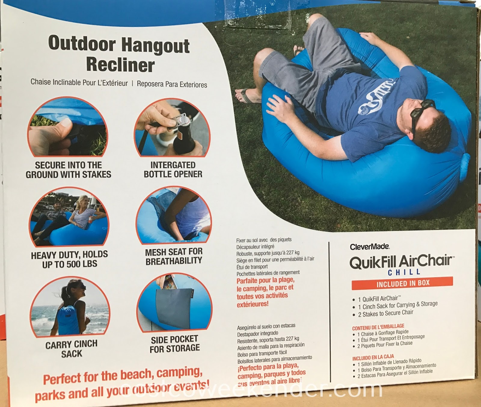 Costco 1127534 - Easily take the ClevrMade QuikFill Air Chair with you to the beach or camping