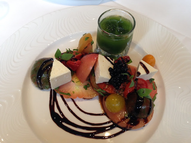 Heirloom Tomato Salad with 'Yorkshire Fettle' Cheese, Aged Sherry Syrup & Green Gazpacho