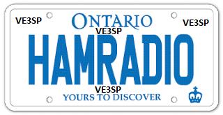 "Personalized licence plates ""HAMRADIO"" - VE3SP"