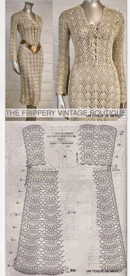 Vestido dorado con aires vintage  Todo crochet