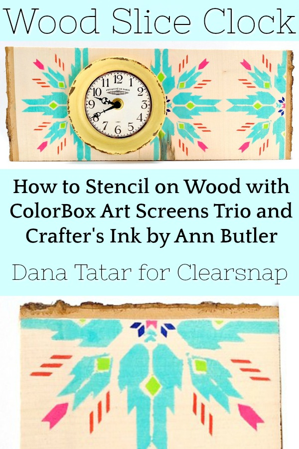 Stenciled Wood Slice Clock Decor with Vibrant Totem Print Tutorial