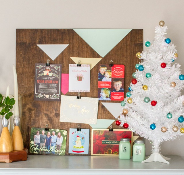 DIY geometric painted christmas card hold