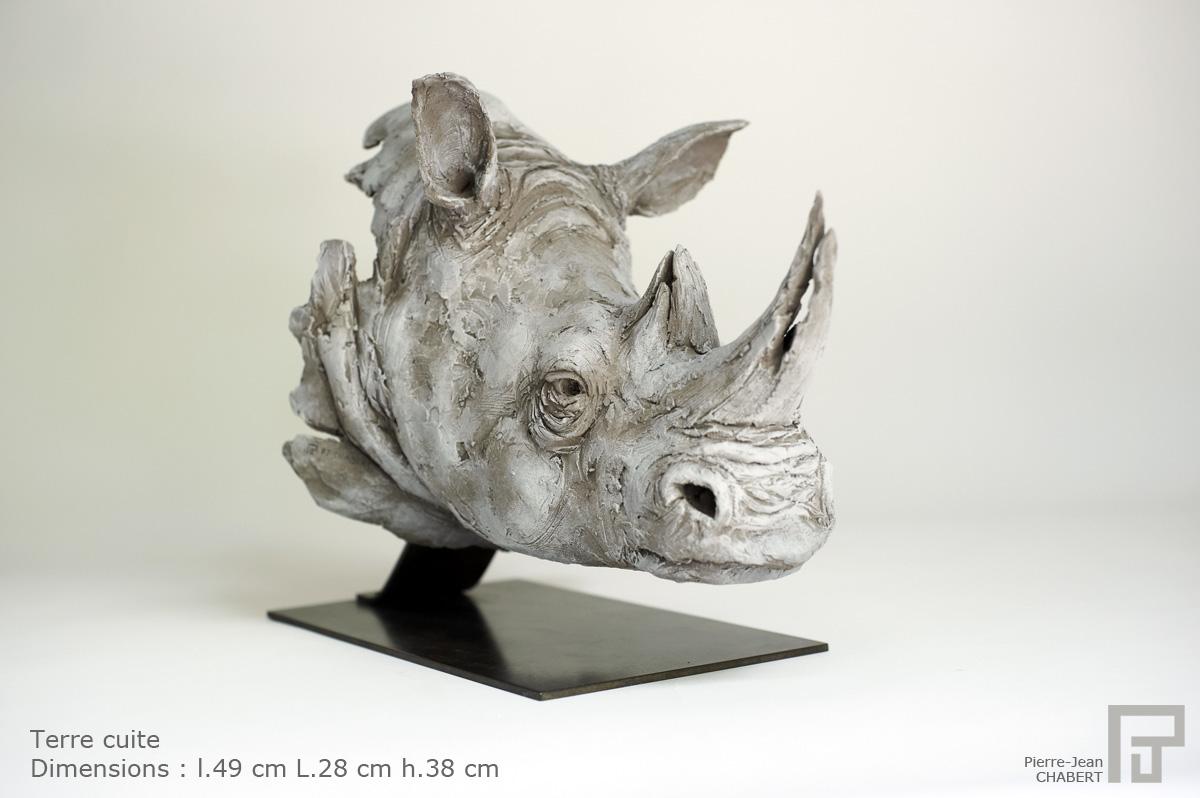 pj chabert sculpture tete de rhinoceros sculpture. Black Bedroom Furniture Sets. Home Design Ideas