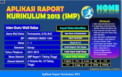 Aplikasi Format Microsoft Excel Penilaian Dan Raport Jenjang SMP Kurikulum 2013