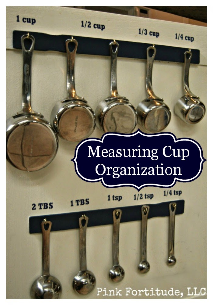 Measuring cups on the wall organized.