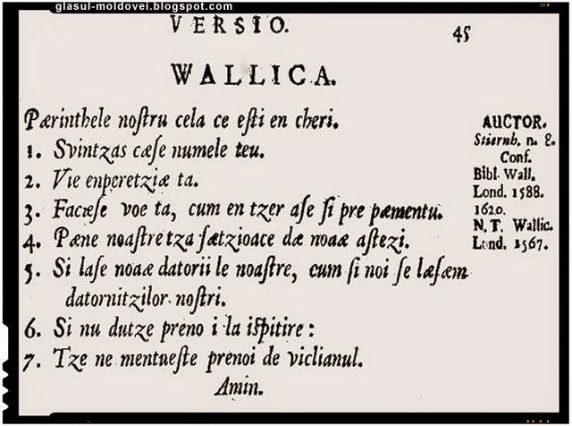 rugaciunea Tatal Nostru, scrisa într-un dialect celt al provinciei Wallace din Anglia