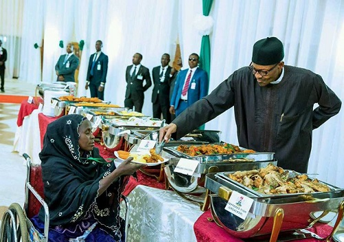 Humble Buhari Serves Meal To Disables, IDP At Breaking Ramadan Fast In Aso Rock, See Photos