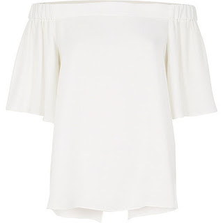 River Island White Bardot Top