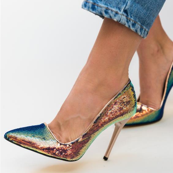 Pantofi aurii de femei din paiete aurii eleganti ieftini de zi ocazii