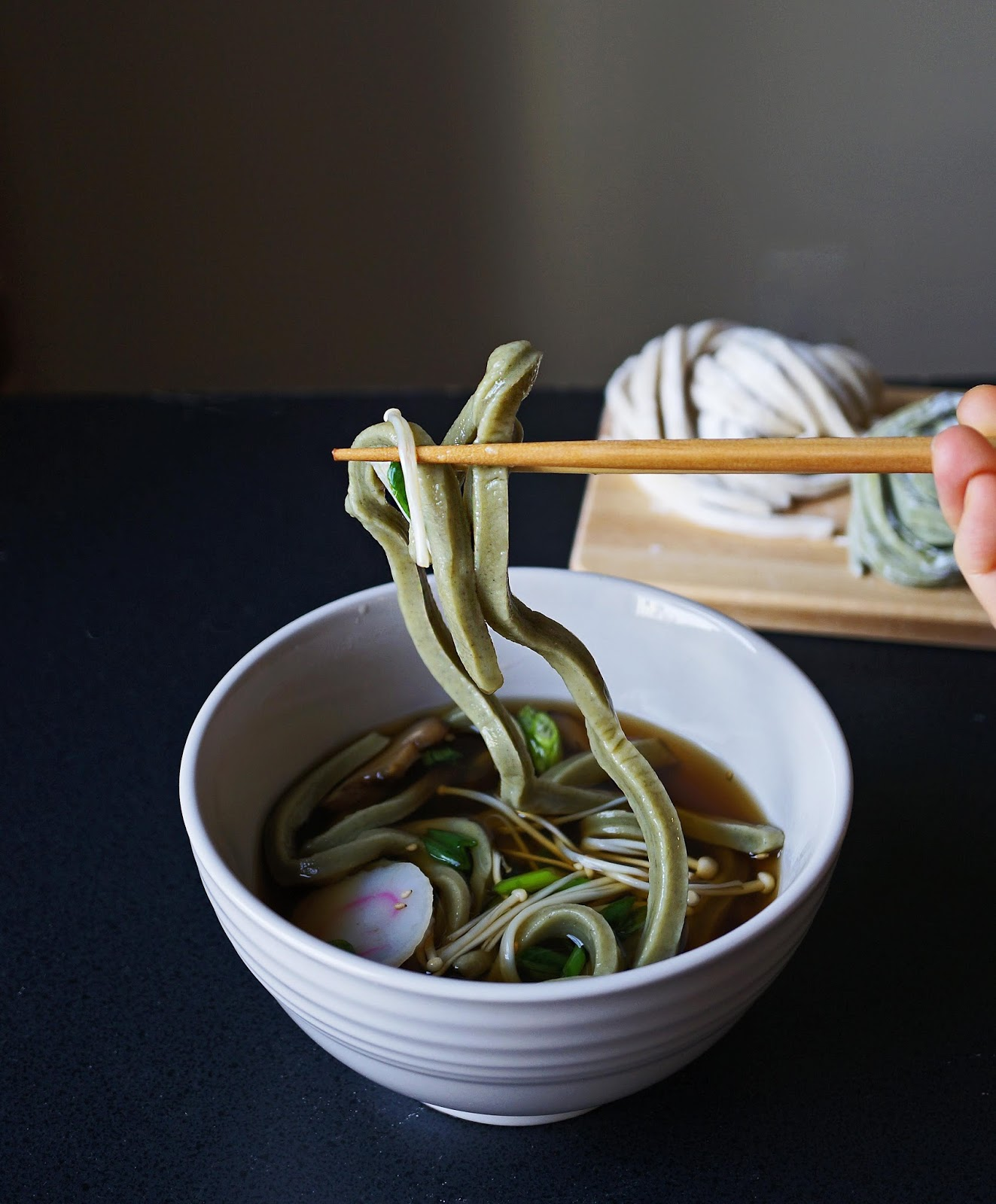 Miss Hangrypants: Homemade matcha udon noodles