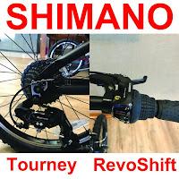 Shimano Tourney rear derailleur & Shimano RevoShift grip shifters on EuroMini ZiZZO Campo 7-speed Folding bike