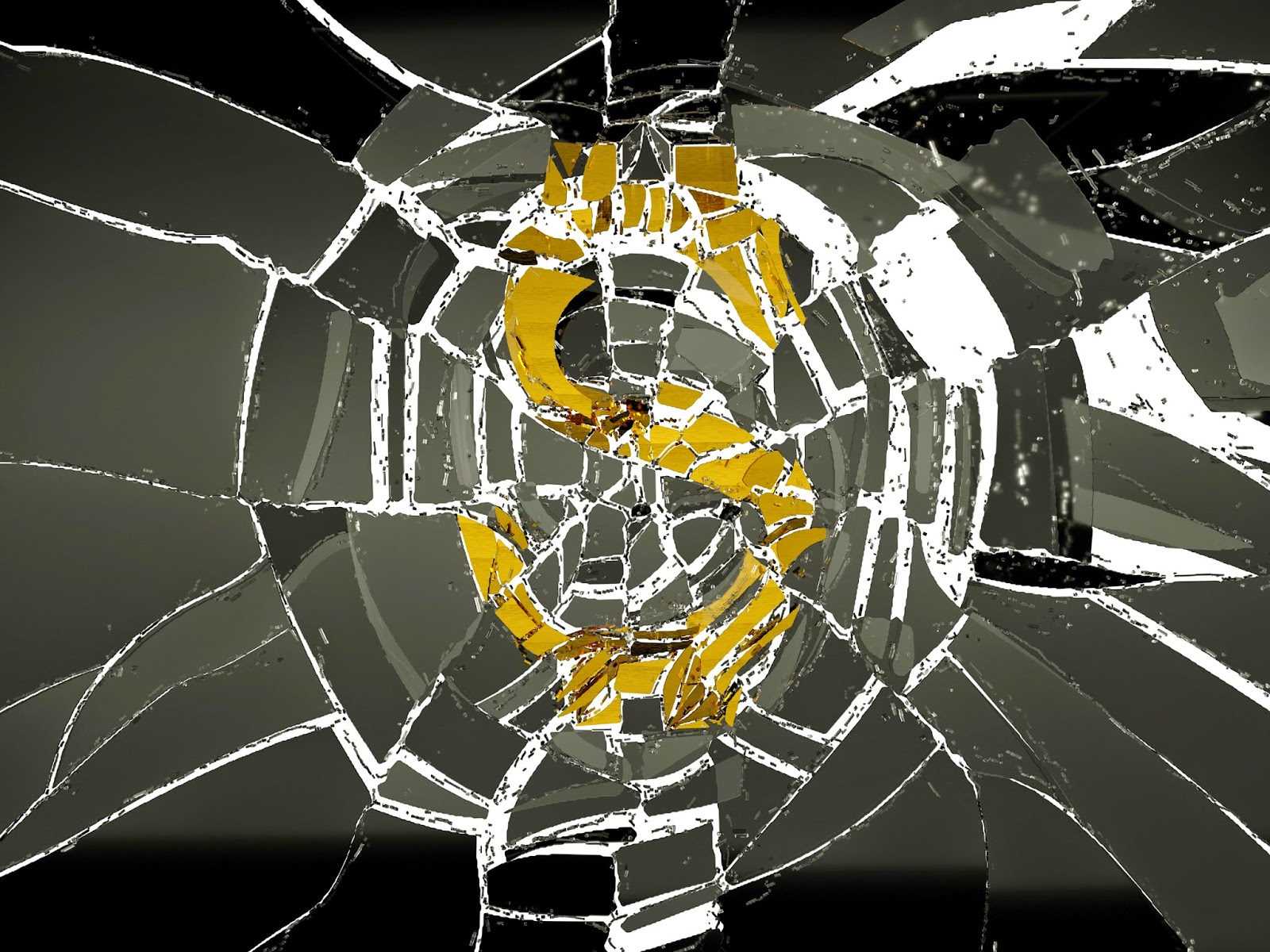 Shattered glass and dollar sign